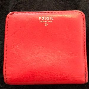 Fossil Red fold wallet leather snap